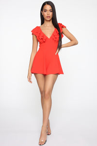 Gimme Some Sugar Romper - Coral Red Angle 2