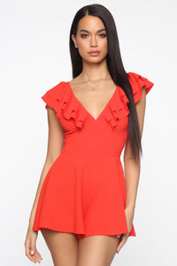 Gimme Some Sugar Romper - Coral Red Angle 1