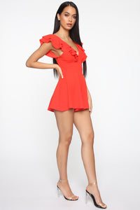 Gimme Some Sugar Romper - Coral Red Angle 3