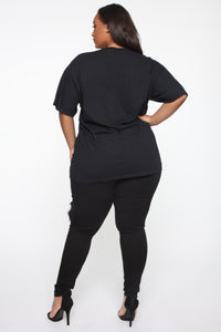 Boss Bitch Short Sleeve Tunic Top - Black Angle 11