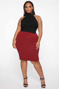 Surrendered Heart Skirt - Burgundy Angle 1