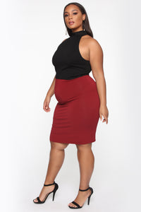 Surrendered Heart Skirt - Burgundy Angle 3