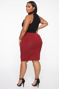 Surrendered Heart Skirt - Burgundy Angle 5