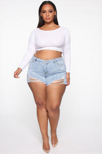You Got Me Distressed II Shorts - Light Blue Wash