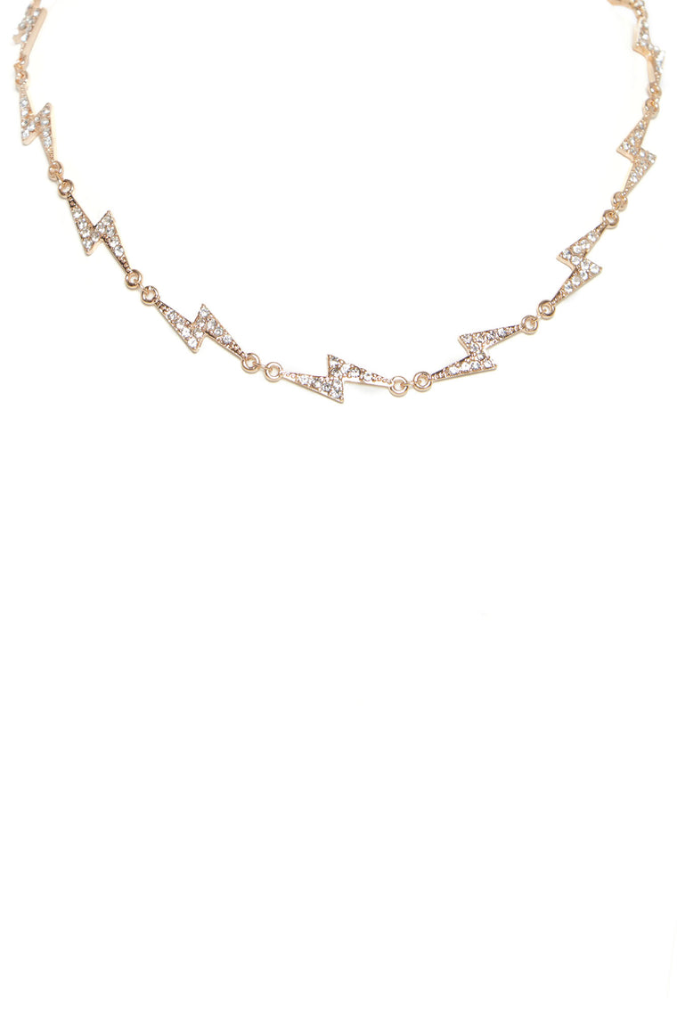 Zeus Lightning Bolt Choker - Gold