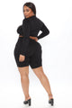 Not Your Average Ruched Biker Short Set - Black
