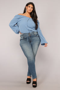 Lady in Waiting Top - Denim Blue