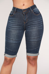 Drifter Moto Bermuda Shorts - Dark Denim