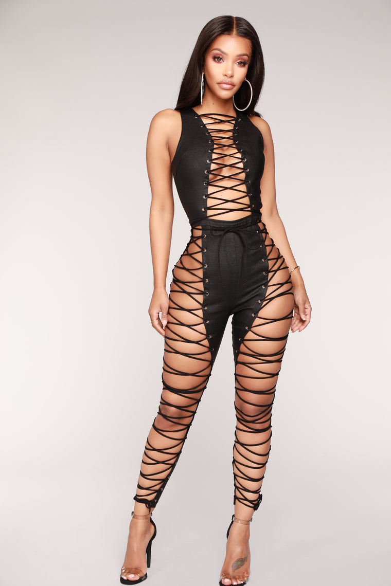 Watch Me Whip Lace Up Jumpsuit - Black