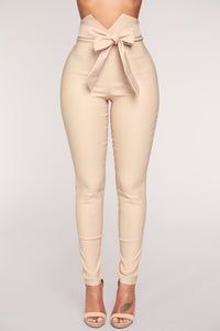 Knot Your Girl Pants - Khaki Angle 1