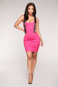 Safety First Buckle Dress - Hot Pink/Black