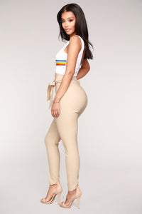 Knot Your Girl Pants - Khaki Angle 4