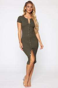 Take Me There Ribbed Midi Dress - Olive Angle 1