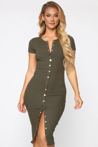 Take Me There Ribbed Midi Dress - Olive Angle 2