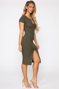 Take Me There Ribbed Midi Dress - Olive