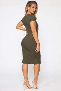 Take Me There Ribbed Midi Dress - Olive Angle 4
