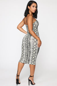 Wild But Classy Animal Midi Dress - Green Snake