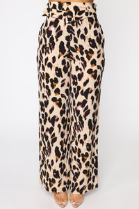 Wildest Dreams Belted Flare Pants - Leopard