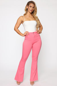 Valentina High Rise Flare Jeans - Coral