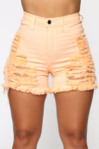 Yes Now Distressed Bermuda Shorts - Orange