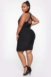 Back In The Mix Crossback Mini Dress - Black