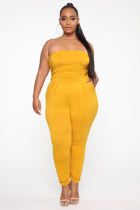 Isabelle's Love Jumpsuit - Mustard Angle 1