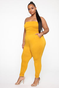 Isabelle's Love Jumpsuit - Mustard Angle 3