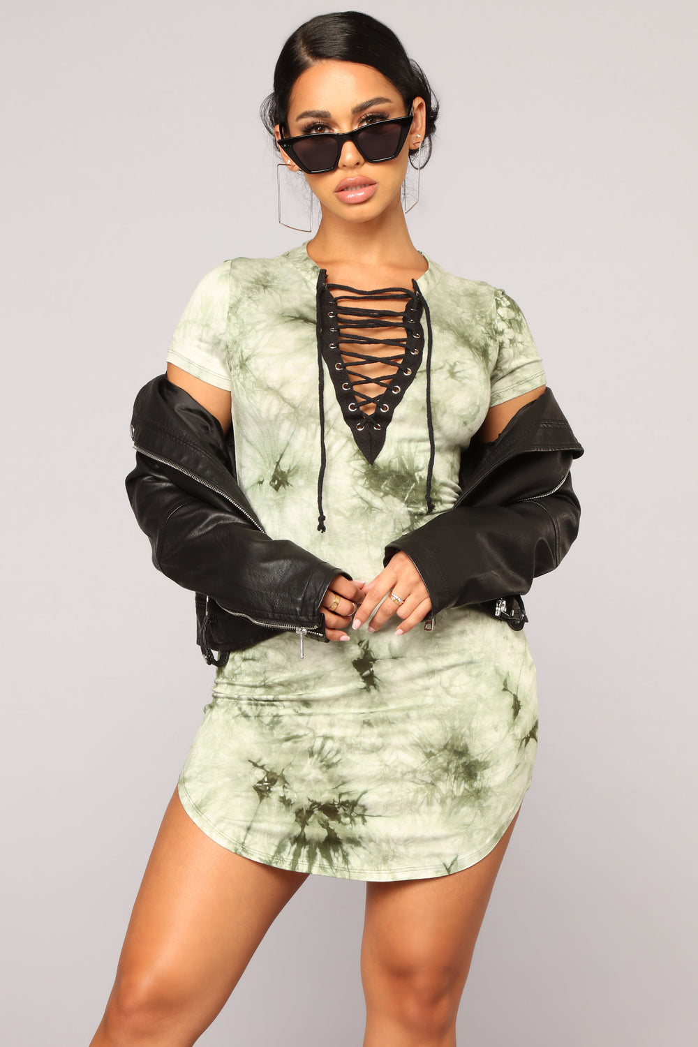 Summer Tie Dye Dress - Olive