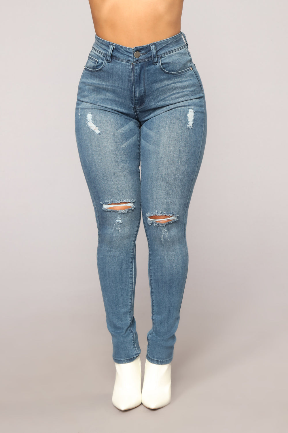 Think About It Skinny Jeans - Medium Blue Wash