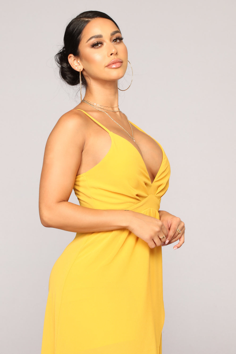 Abrianna High Low Dress - Mustard