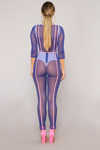 We Mesh Together Jumpsuit - Blue