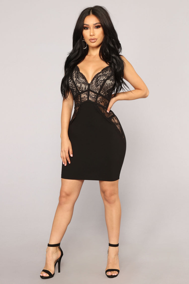 Finding Love Lace Dress - Black