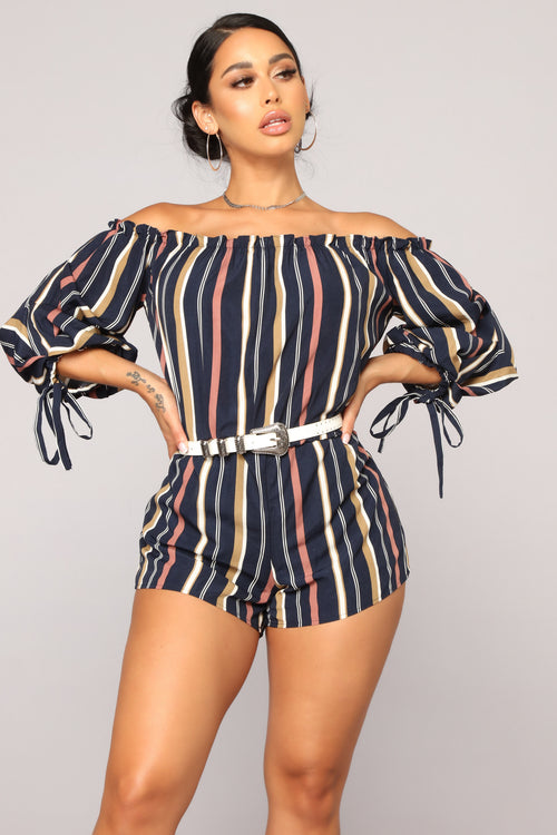 Out To Play Striped Romper - Navy