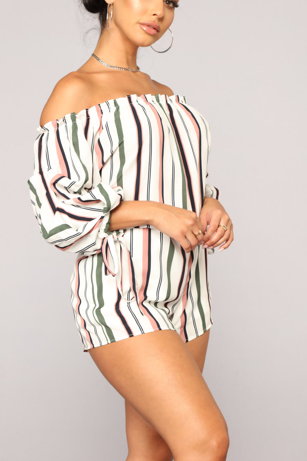 Out To Play Striped Romper - White