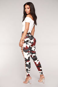 Up To Your Imagination Lace Up Camo Pants - Burgundy Camo