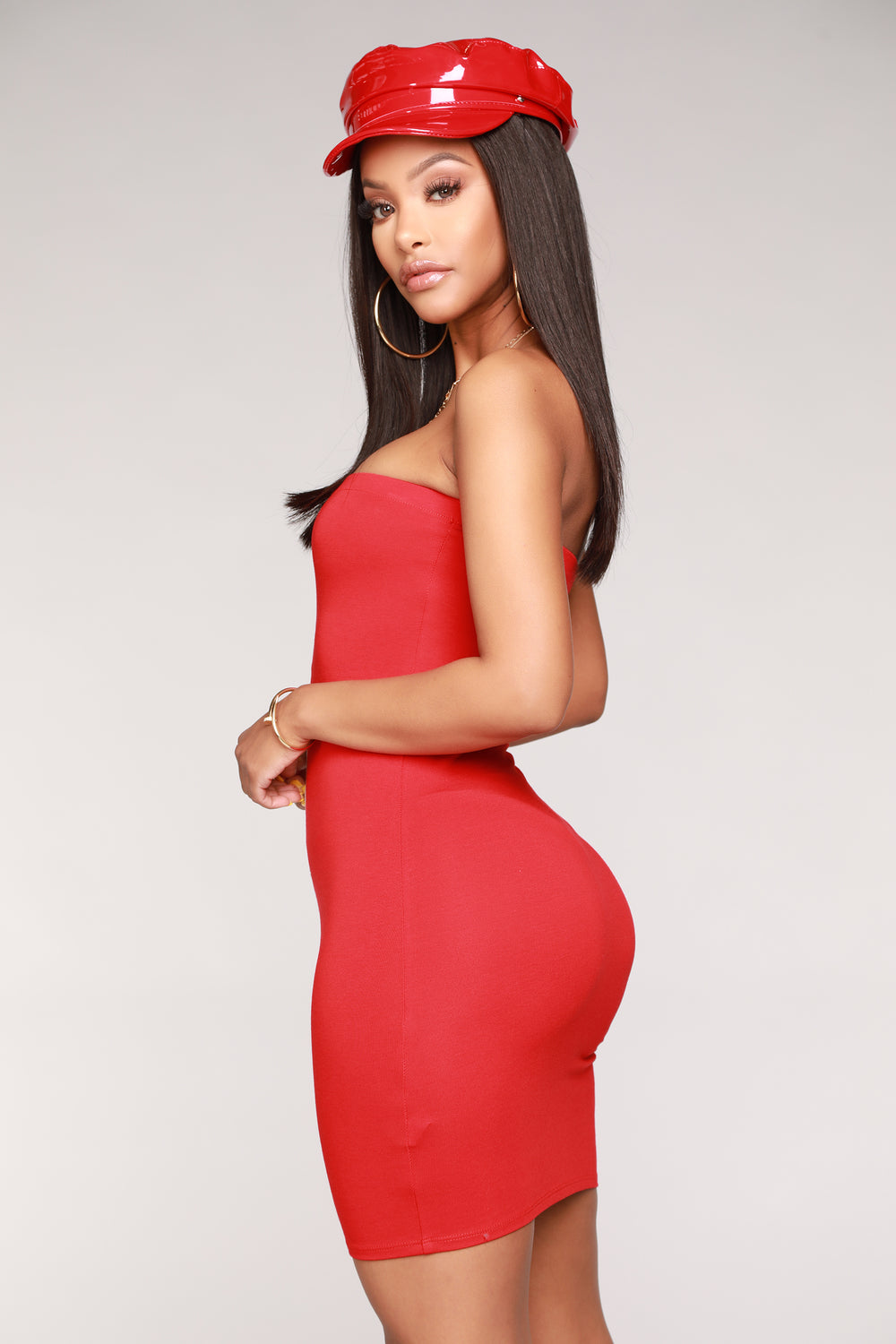 Snapped Tube Dress - Red