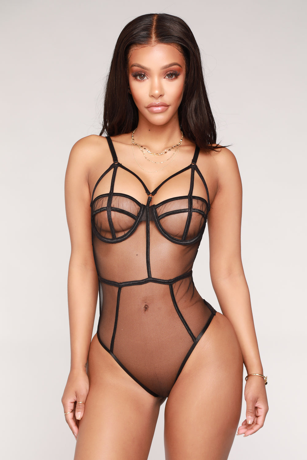 Seductive Lover Mesh Teddy - Black