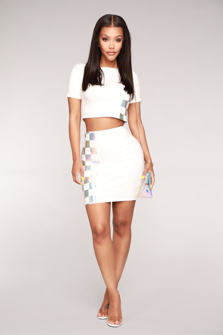 Iridescent Games Skirt Set - White