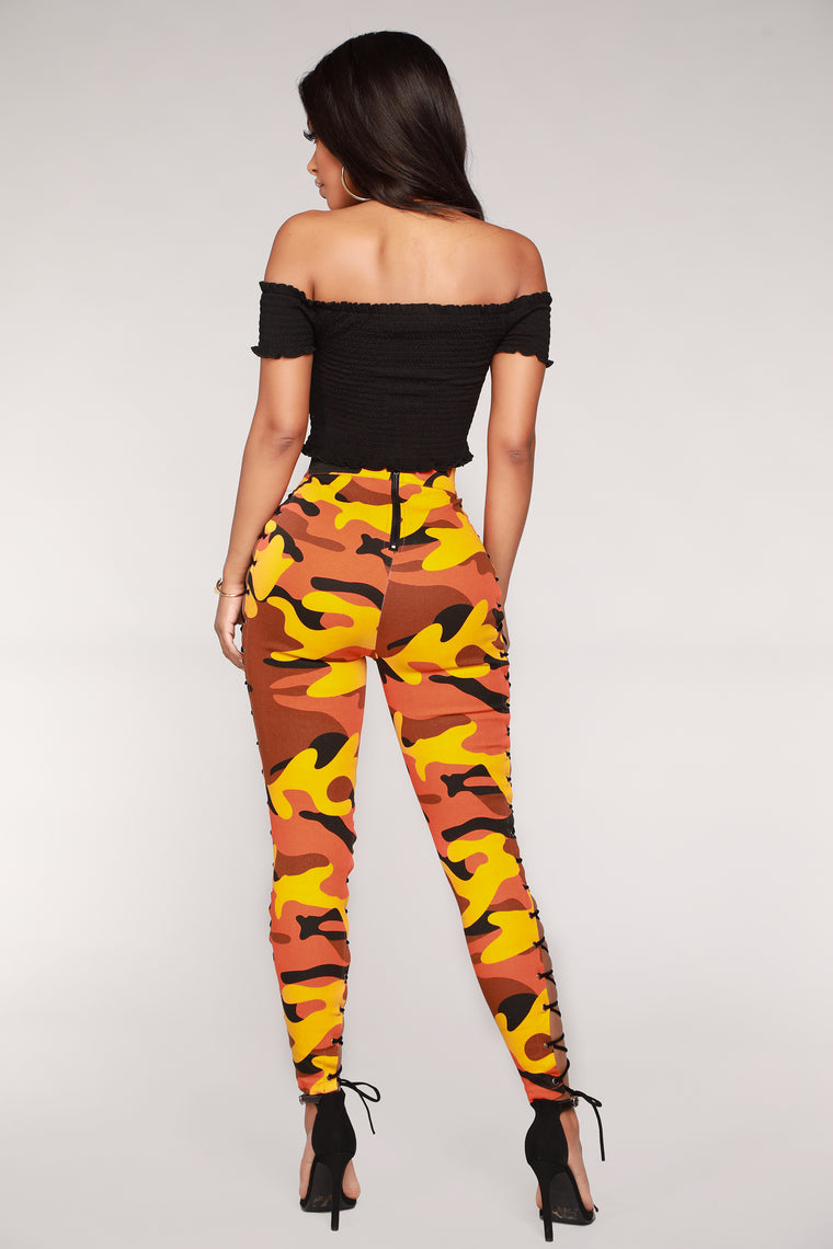 Up To Your Imagination Lace Up Camo Pants - Orange Camo