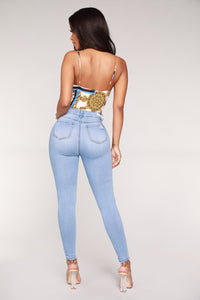 In The Clouds Skinny Jeans - Light Blue Wash Angle 5