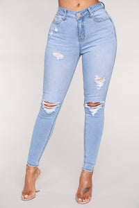 In The Clouds Skinny Jeans - Light Blue Wash Angle 1