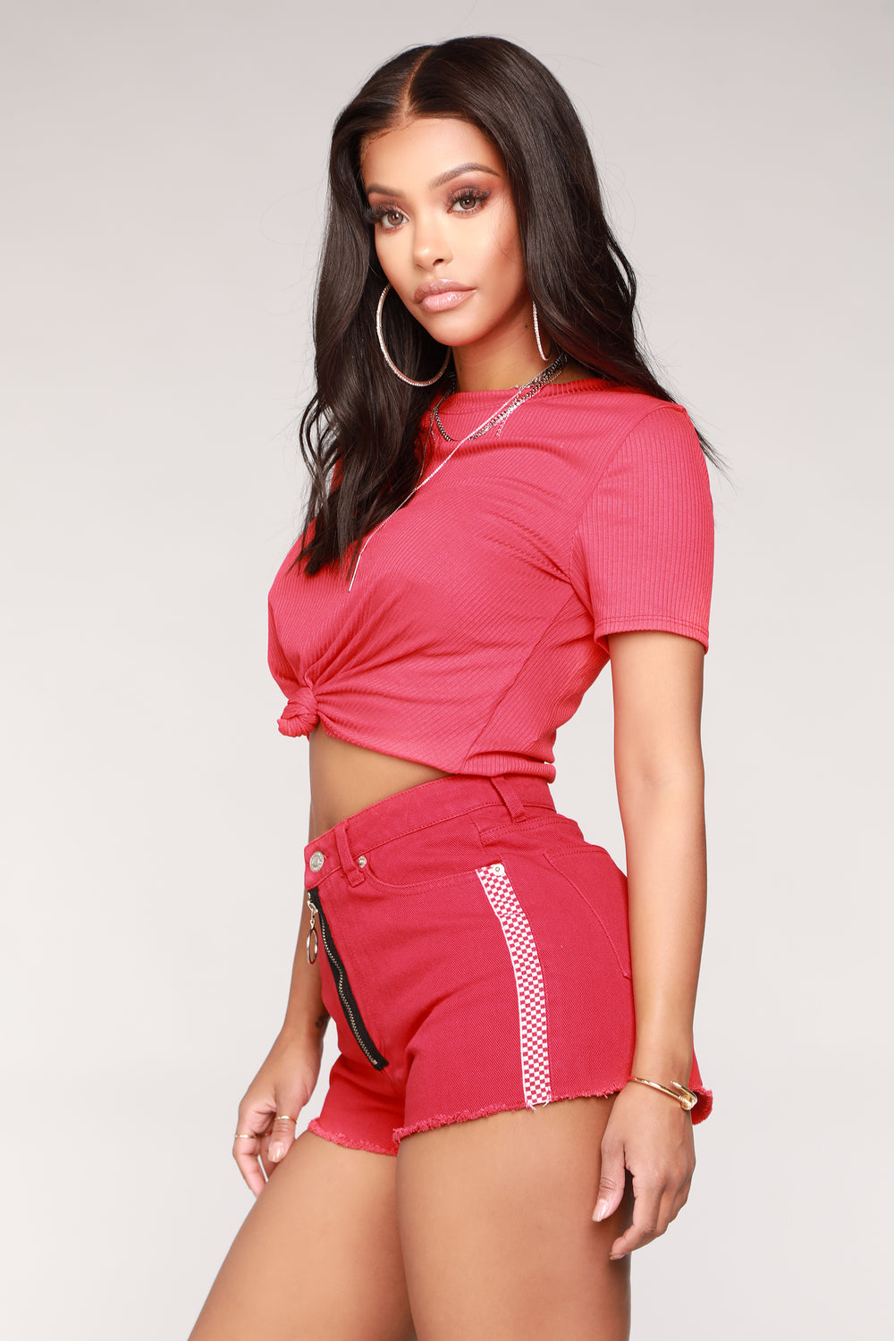Love You Knot Rib Top - Red