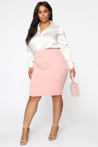 Meet Me In The Midi Skirt - Pink