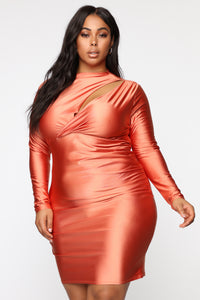 Only Here Tonight Cut Out Dress - Peach/Coral