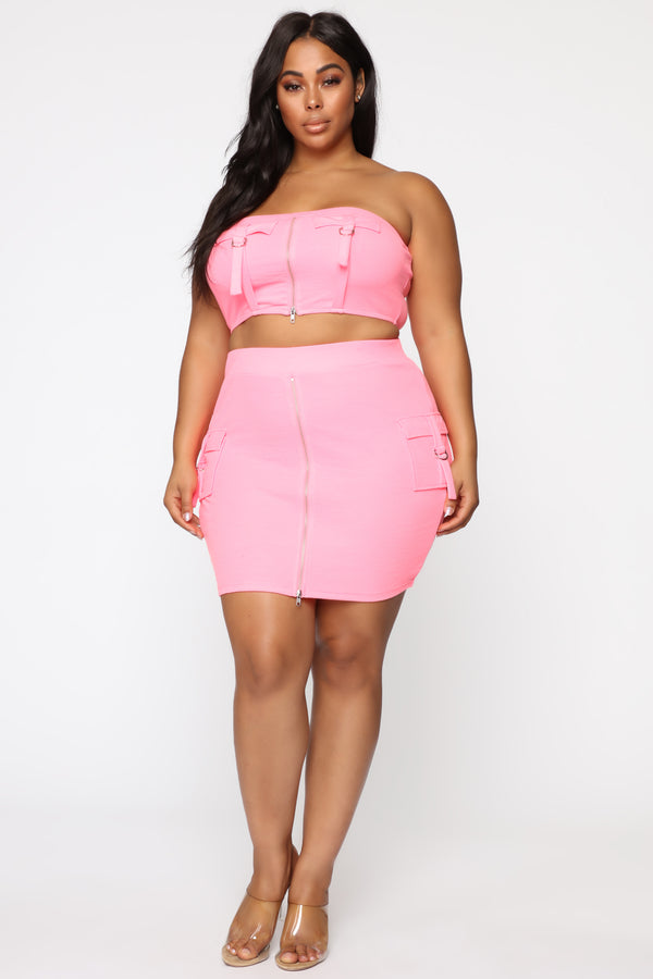 0b26944a4 Mabel Cargo Skirt Set - Neon Pink