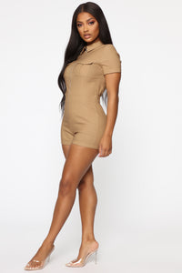 Don't Bother Cargo Romper - Camel