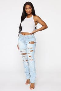 Won't Cry For You Distressed Jeans - Light Blue Wash Angle 2