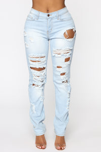 Won't Cry For You Distressed Jeans - Light Blue Wash Angle 1