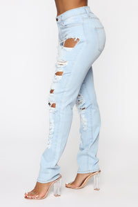 Won't Cry For You Distressed Jeans - Light Blue Wash Angle 3