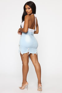 On Cloud 9 Distressed Mini Pencil Skirt - Light Blue